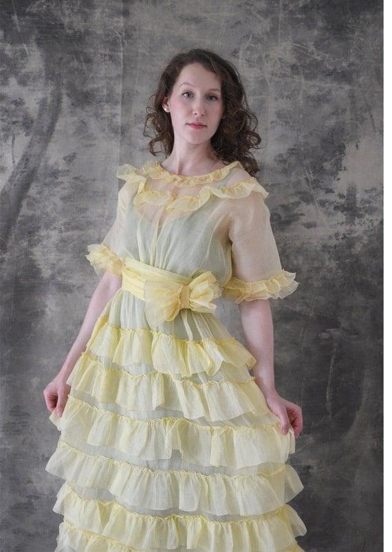1940s Organza Yellow Tiered Ruffle Dress