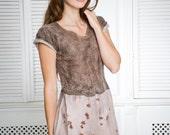 Brown felted dress, midi dress, spring  fashion, everyday clothing, rustic, custom size