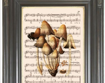 Brown cap mushroom wall decor print on dictionary or music page COUPON Digital art print Dictionary art print Sheet music print No. 754
