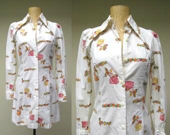 Vintage 1970s Dress / 70s Cotton Mini Shirt Dress Fairie Print / Extra Small
