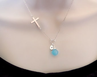 Side Cross Necklace, Birthstone Necklace, Initial Necklace, Personalized Necklace, Mothers Necklace, Sister Necklace, Mom Gift, Friendship