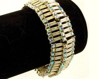 Vintage 1960s Rhinestone Bracelet Aurora Borealis Coro Aurora Borealis Statement