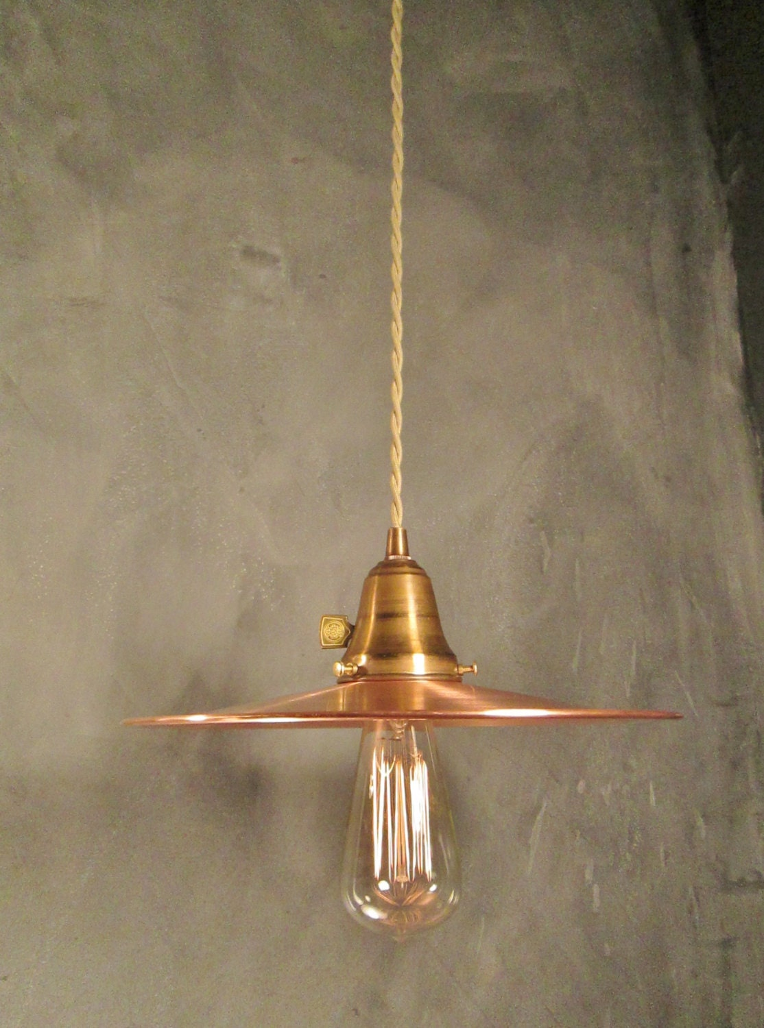 Industrial Lighting Vintage Hanging Light With Flat Copper