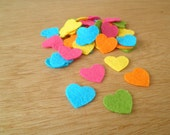 Rainbow Heart Confetti, mini heart confetti from felt in bright rainbow colours, perfect for weddings, party decoration and general crafts.