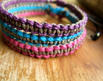 Hemp Bracelet Stack, Berry Grey, Aqua Purple Pink, Set of 3
