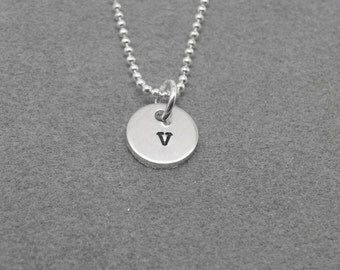 Sterling Silver Initial Necklace, Tiny Letter v Necklace, Initial Pendant, Personalized Jewelry, Sterling Silver Jewelry