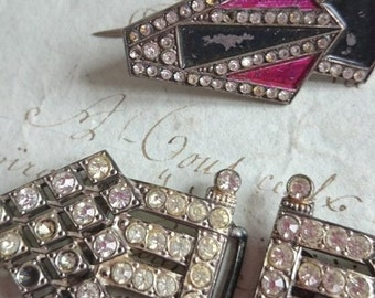 2 Chic antique French PARIS buckles and 1 pin brooch 1920s ART DECO timeworn treasures