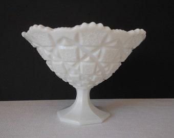 Antique Westmoreland Old Quilt Milkglass Dish Vase