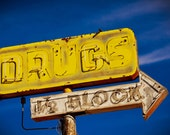 Drugs 1/2 Block Neon Vintage Sign - Route 66 Tucumcari New Mexico - Vintage Home Decor - Route 66 Wall Art - Fine Art Photography