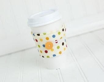 Reusable Fabric Coffee Sleeve Beige Polka Dot Coffee Cozy Gender Nuetral