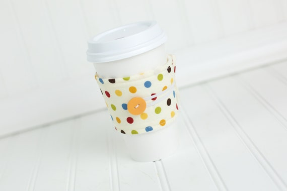 Reusable Fabric Coffee Sleeve Beige Polka Dot Coffee Cozy Gender Nuetral