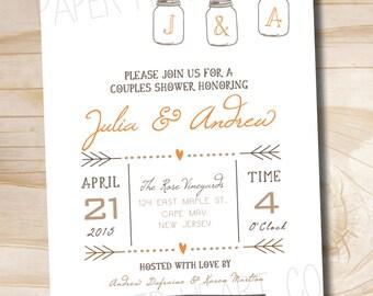 Mason Jar Poster Couples Shower Bridal Shower Invitations - Printable digital file or printed invitations