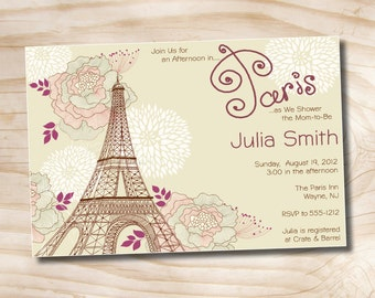 Parisian Bridal Shower Invitation - Printable Digital file or Printed Invitations