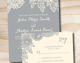 FLORAL LACE Rustic Vintage Wedding Invitation and Response Card - Printable Invitation
