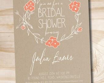 Kraft Laurel Wreath Bridal Shower Invitation - Printable digital file or printed invitations