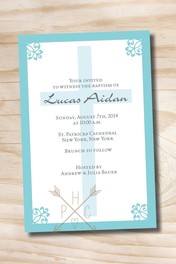 SIMPLY CHIC Custom Baptism Invitation / Christening Invitation / Communion Invitation - Printable digital file or printed invitations