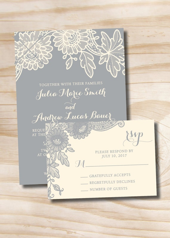 Floral lace rustic vintage wedding invitation and response card il570xn stopboris Choice Image