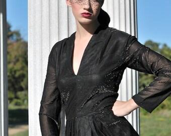 Vintage 70s Evening Dress / Long Maxi Dress / Black Long Formal Gown / M / Medium