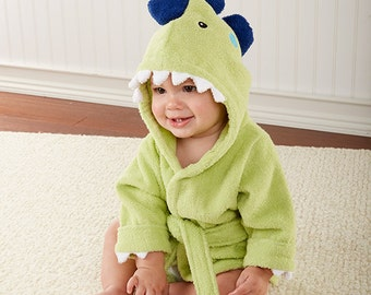 "Infant's Personalized ""Splash-a-saurus"" Dinosaur Hooded Spa Robe"