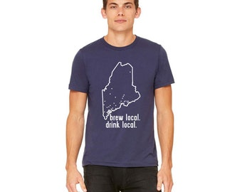 Drink Local - Maine Craft Beer Brewery Map T-shirt