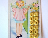 Yellow Buttons on Original Card Collectible Sewing Supply