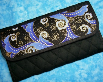 Women Wallet - Fabric Wallet Clutch Wallet Large Trifold Wallet Vegan Black Wallet Quilted Organizer Wallet Cloth Ladies Wallet Velcro