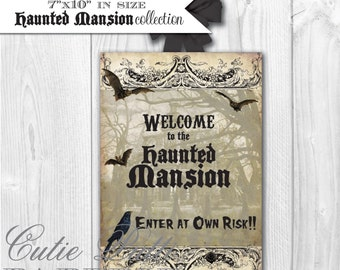 Haunted Mansion Party, Halloween Party, Haunted House Party - PRINTABLE WELCOME SIGN - Cutie Putti Paperie