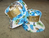 ROJAS hawaiian hibiscus floral  metal snapback hat hawaii flower gold la ny nyc can custom florals flowers snapbacks hats tropical cap blue