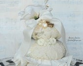 Pincushion - Vintage Inspired with Decorative Pins and White Millinery Rose