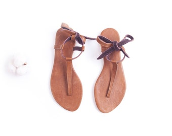 Minimal Brown tie up Sandals | Up-cycled soft leather sandals | Cognac Brown | Ready to Ship