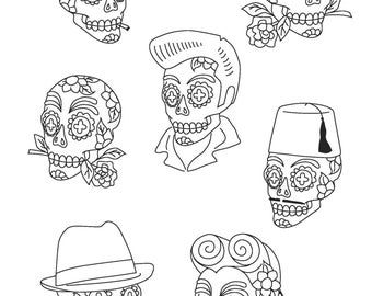 Day of the Dead Sugar Skull Calaveras Characters DIY Pattern pdf file for Hand Embroidery Transfer