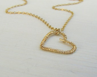 Heart necklace, Simple gold necklace, Gold Heart necklace, Dainty heart necklace, Romantic gift, Romantic necklace, Wrapped heart necklace