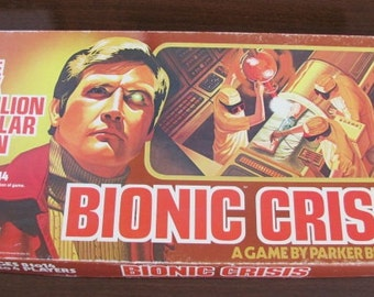 """Vintage 70's """"Bionic Crisis"""" Board Game - Six Million Dollar Man - 1975 - Parker Brothers - 70's Game Night - 70's TV Show"""