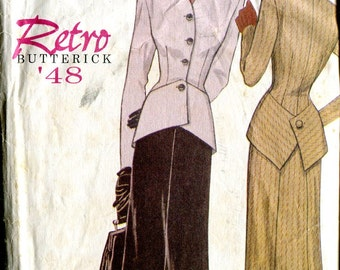 Butterick 6257 Retro '48 Dress Suit Skirt Jacket Sewing Pattern B30-31-32