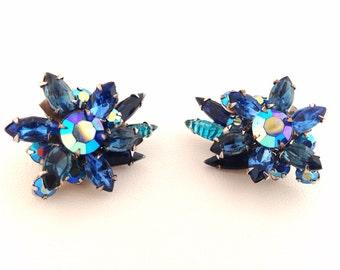 Vintage Beau Jewels Sapphire Blue Rhinestone Clip Earrings - AB rhinestones - clip-on - Signed - blue - purple - crystal rhinestone