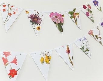 Floral Bunting, 10 feet Flower Garland, eco-friendly banner, botanical  bunting, natural wedding decor, Wedding Pennants, Mother's Day