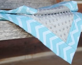 Minky Baby Blanket Chevron Blue Grey Gray- Name Available - Baby Blue