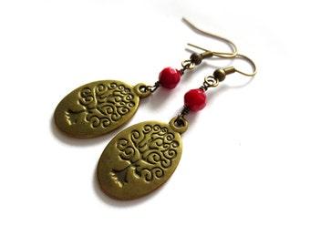Red Beaded Wisdom Tree Earrings