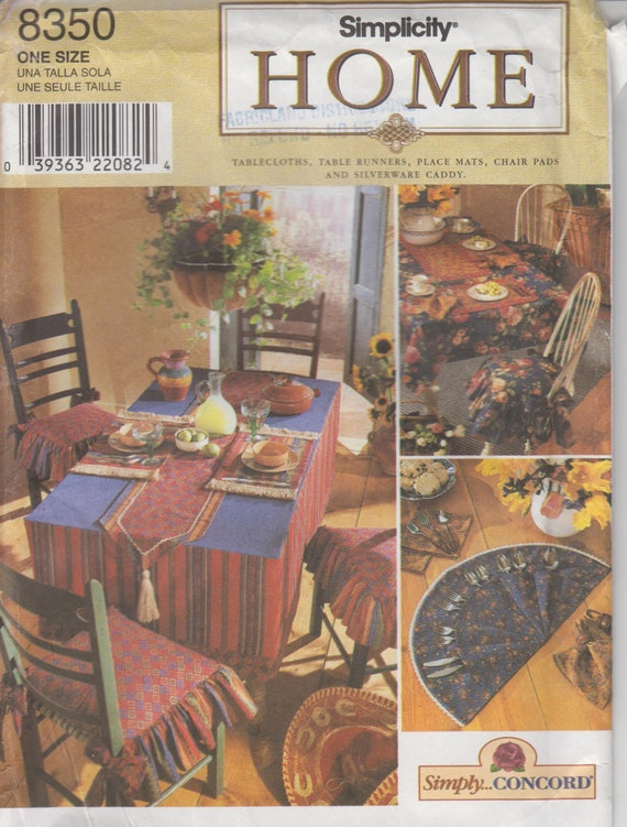 Home decor sewing pattern tablecloth table runners place mats Home decor 1990s