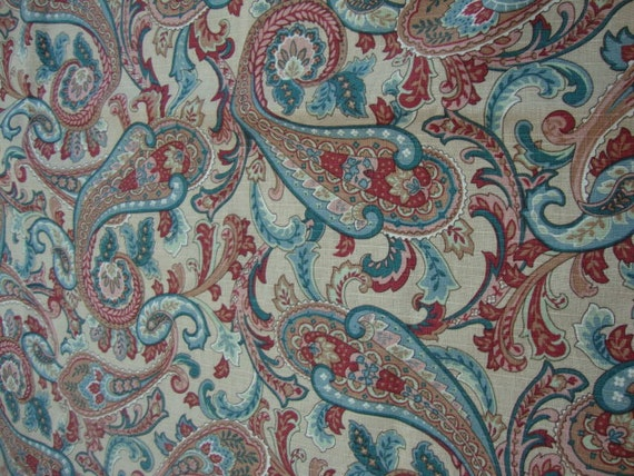 "55"" wide linen screen print fabric paisley print home decorator"