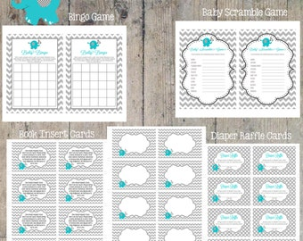 INSTANT DOWNLOAD - Elephant Shower Package Printable