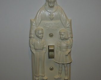Reproduction Vintage Turn On Jesus Light Switch Plate Hartland Plastics Modern