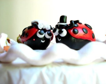 Cute Wedding Cake Topper Ladybug Bride and Groom