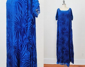 1920s Dress / BURNOUT Velvet Flapper Gown / Cut Devore Velvet