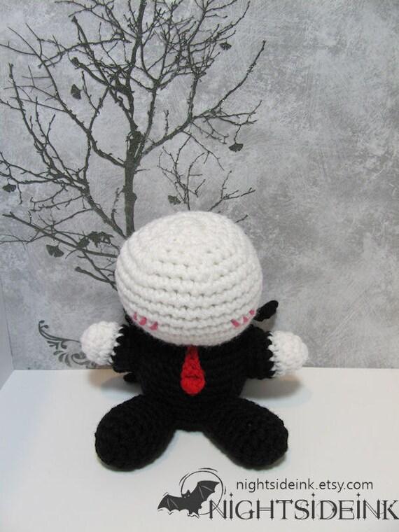 Amigurumi Slender Man : Chibi Blushing Slenderman Slender Man Amigurumi by Nightside