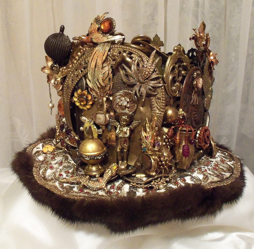 Amazing Crown Royal Head Piece Brass Bejeweled by ... - photo#31