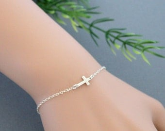 Sideways Cross Bracelet, Sterling Silver Cross Bracelet, Simple Dainty Bracelet, Bridesmaid Jewelry, Best Friend Gift, Wedding, Religious