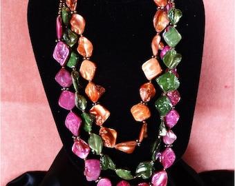 SALE .... Stunning Vintage Necklace 3 Strands Very Colorful