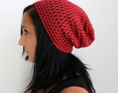 Marsala Red Slouchy Beanie Hat, Red Unisex Adult Classic Beanie, Winter Accessories