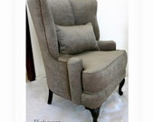 Custom Wing Back Chair  Select your fabric, Carved Legs Home Decor Grey Velvet